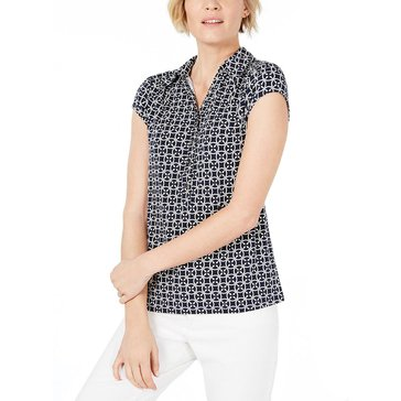 Charter Club Women's Tile Printed Polo