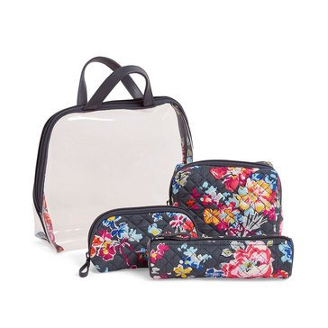 Vera Bradley 4 Piece Cosmetic Set Iconic Pretty Posies