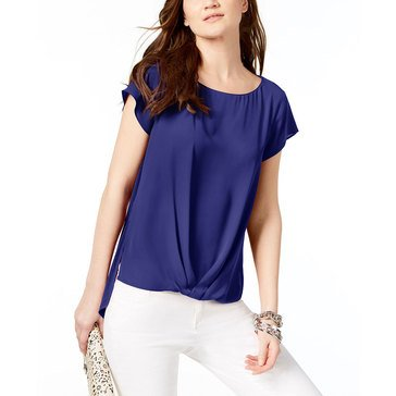 I.N.C. International Concepts Women's Mix Media Twist Hem Top