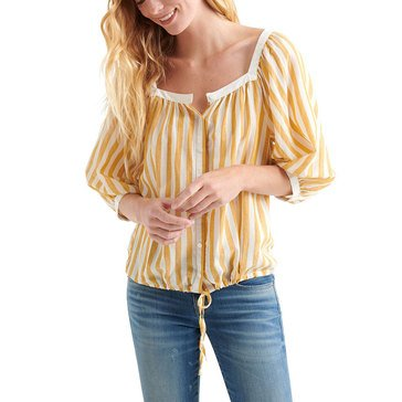 Lucky Brand Women's Woven Striped Top