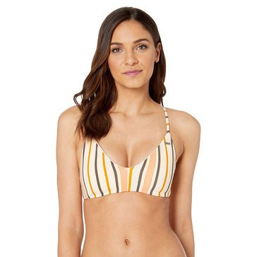 Roxy Women's Softly Love Striped Athletic Triangle Swim Top (mix with Romantic Senses)