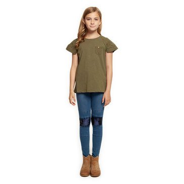 Dex Big Girls' Multi Fabric Top with Pocket
