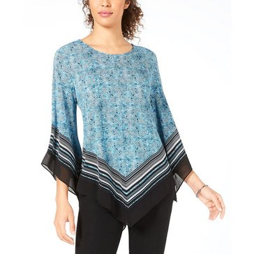 Alfani Women's Printed Border Hankie Hem Knit Top