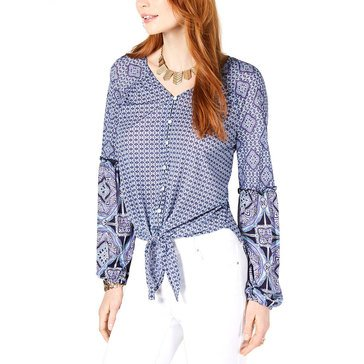 Style & Co Women's Mixed Print Button Down Tie Front Top