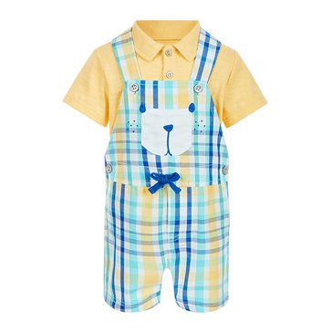 First Impressions Baby Boys' Plaid Bear Shortalls