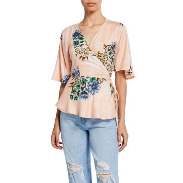 Dex Women's Floral Wrap Front Top