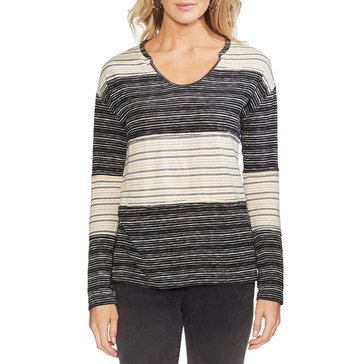 Vince Camuto Women's Long Sleeve Color Block Striped Drapey Knit Top
