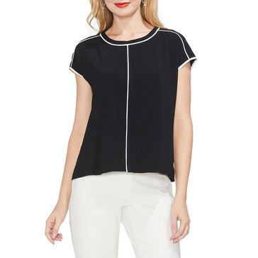 Vince Camuto Women's Extend Shoulder Blouse With Contrast Piping