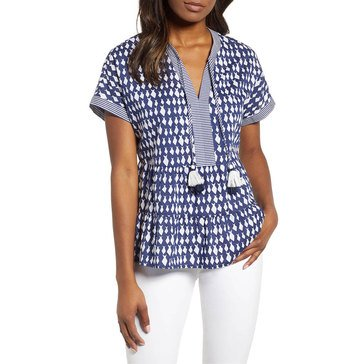 Vineyard Vines Women's Diamond Fish Rayon Tiered Top