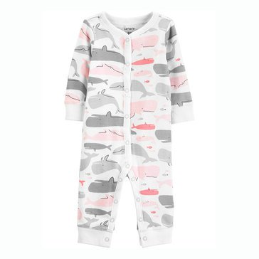 Carter's Baby Girls' Whale Snap Up Cotton Footless Sleep N Play