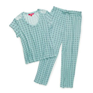 Catherine Catherine Malandrino Womens Printed Tee and Pant 2PC PJ Set