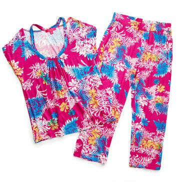 Catherine Catherine Malandrino Womens Printed Tee and Printed Pant 2PC PJ Set