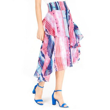 I.N.C. International Concepts Women's Watercolor Striped Smock Waistband Midi Skirt