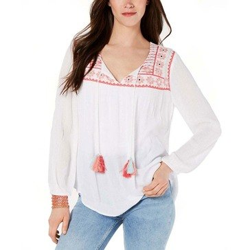 Style & Co Women's Embroidered Bodice Peasant Top