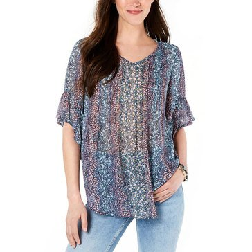 Style & Co Women's Ditsy Printed Georgette Blouse