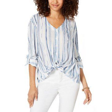 Style & Co Women's Watercolor Striped Tie Front Shirt