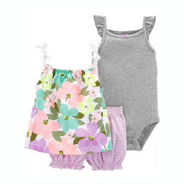 Carter's Baby Girls' 3-Piece Hibiscus Floral Little Bubble Short Set