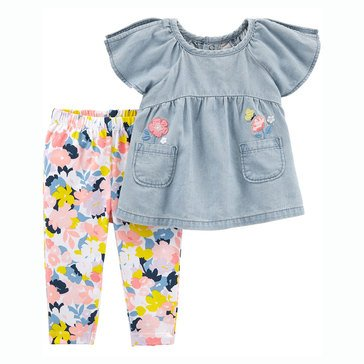 Carter's Baby Girls' 2-Piece Chambray Top and Floral Legging Set