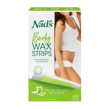Nad's Hair Removal Body Wax Strips for Sensitive Skin, 24ct