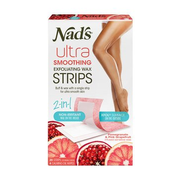 Nad's Hair Removal Ultra Smoothing Exfoliating Body Wax Strips, 20ct