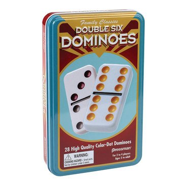 Pressman Double Six Dominoes in Tin