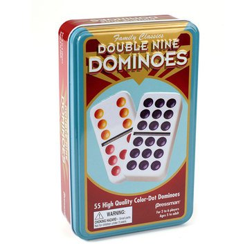 Pressman Double Nine Dominoes in a Tin Game