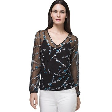 White House Black Market Women's Floral V-Neck Top