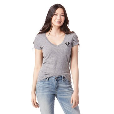 True Religion Women's Deep V-Neck Tee
