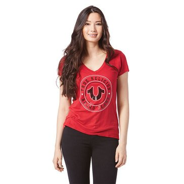 True Religion Women's Deep V-Neck Circle Horseshoe Logo