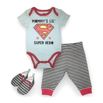 Happy Threads Baby Boys' Superman 3-Piece Bodysuit Pant Shoe Set