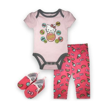 Happy Threads Baby Girls' Hello Kitty 3-Piece Bodysuit Pant Shoe Set