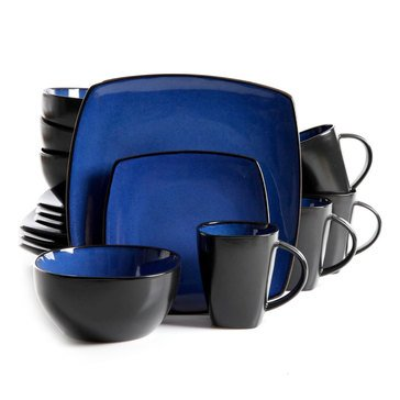 Gibson 16-Piece Soho Lounge Stoneware Square Dinnerware Set