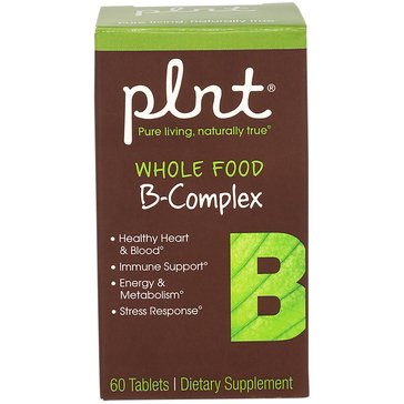 Plnt Whole Food Vitamin B-Complex Non-GMO and Vegan 60 Tablets