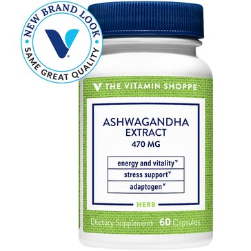 The Vitamin Shoppe Ashwagandha Extract 470 MG 1.5% Withanolides 60 Capsules