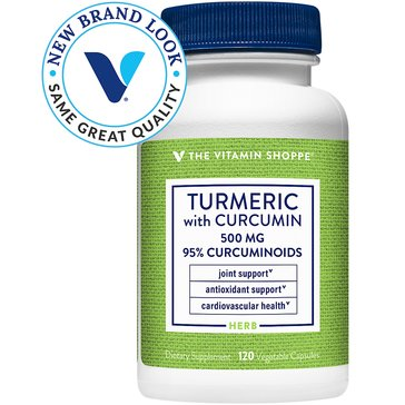 The Vitamin Shoppe Turmeric with Curcumin 500 MG 120 Vegetarian Capsules