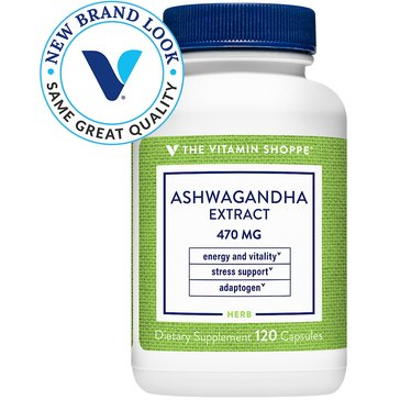 The Vitamin Shoppe Ashwagandha Extract 470 MG 1.5% Withanolides 120 Capsules