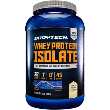 BodyTech Whey Protein Isolate Powder - French Vanilla 3lbs 45 Servings