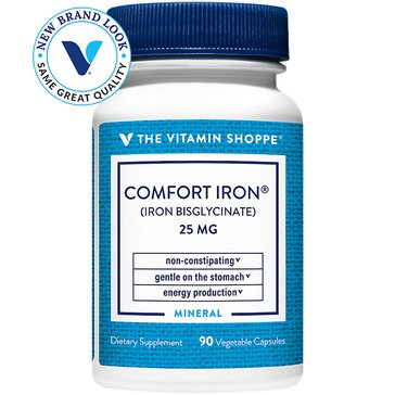 The Vitamin Shoppe Comfort Iron Gentle Non-Constipating 25 MG 90 Vegetarian Capsules