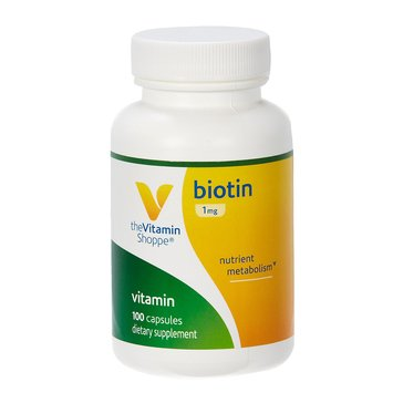 The Vitamin Shoppe Biotin for Hair, Skin and Nails Support 1 MG 100 Capsules