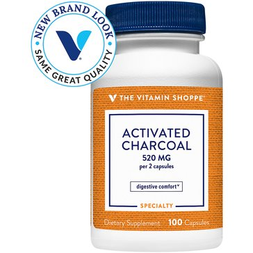 The Vitamin Shoppe Activated Charcoal 520 MG 100 Capsules