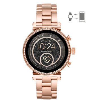 Michael Kors Womens' Sofie Raven Rose Gold Bracelet Smartwatch, 41mm