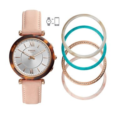 Fossil Women's Hybrid Smartwatch Rose Pink Leather Strap Watch, 16mm