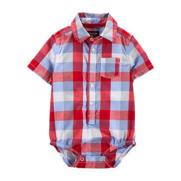 OshKosh Baby Boys' Button Down Woven Bodysuit