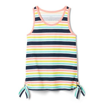 Yarn & Sea Little Girls' Print Side Knot Tank