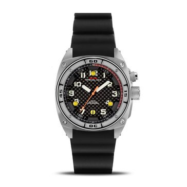 MTM Special Ops Falcon Stainless Steel/Silver Black Rubber I Watch, 44mm
