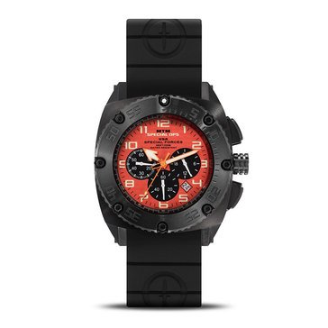 MTM Special Ops Patriot Black Stainless Steel/Orange Black Band Chronograph Watch, 44mm