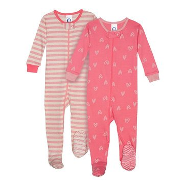 Gerber Organics Baby Girls' 2-Pack Scribble Hearts Cotton Pajamas