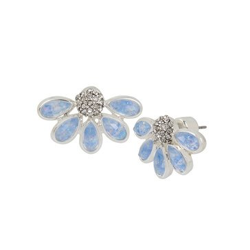 Kenneth Cole Flower Crystal and Opal Stud Earrings, Silver Tone
