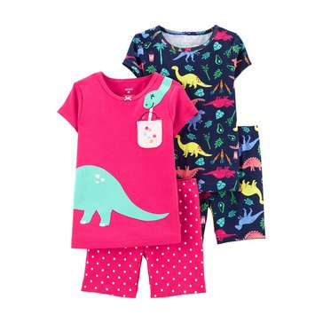 Carter's Little Girls' 4-Piece Dinosaur Snug Fit Cotton PJs