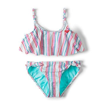 Roxy Big Girls' Disney Treasure Stripe Flutter Bikini Set